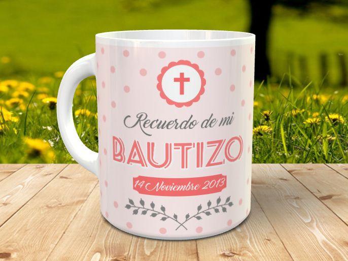 Taza bautizo personalizada con foto 3